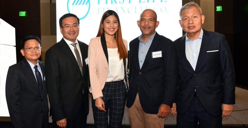From L-R - Jules Riego of SGV, Richard Yee of Goldilocks, DLSU courtside reporter Jeanine Tsoi, Victor Paterno of 7-Eleven and Peter Coyiuto of First Life Financial